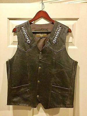 Men's Motorcycle Vest (large) Brown Leather Like New Condition