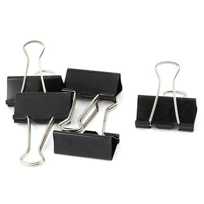 40mm Width Black Metal Binder Clips 5pcs for Office School File Document Paper