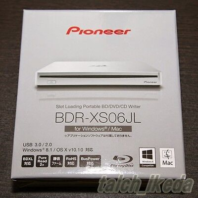 Pioneer BDR-XS06JL Portable Blu-ray Drive Silver Win/Mac BDXL USB 3.0 JAPAN New