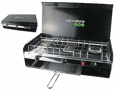 Yellowstone Camping Deluxe Double Gas Burner Stove with Grill & Lid Cooker Black