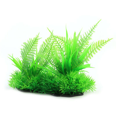 Home Aquarium Fish Tank Aquatic Plastic Plant Grass Lawn Ornament Green Black