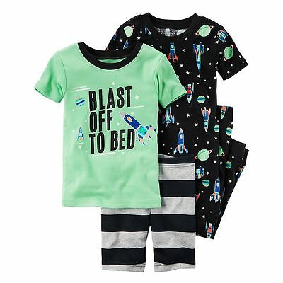 New Boys Carter's Outer Space Blast Off 4-Piece Pajama Set 6 7 8 10 12