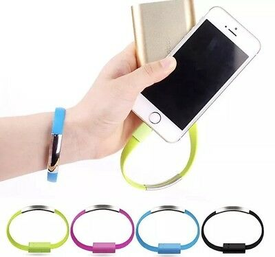 USB Data Charge Sync Cable Charger Bracelet Wrist Band For iPhone Samsung Sony
