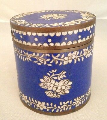 Antique CHINESE Bronze CLOISONNE BLUE ENAMEL White Flowers CANISTER JAR BOX