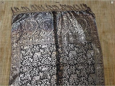 BEAUTIFUL ANTIQUE RAJASTAN INDIA  Gold Metallic SILK Runner Shawl Copper