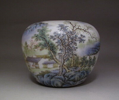 Old Chinese Famille Rose landscape Porcelain Brush Washer H1034
