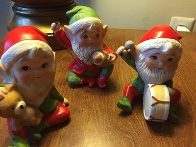 Vintage Homco Elf Elves Christmas  5618 Holiday Toy Makers Football Drum Bear
