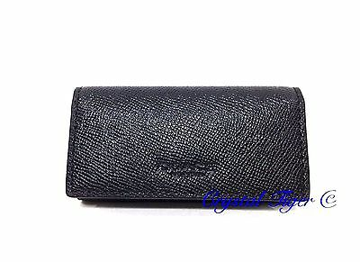 New Coach Crossgrain Leather 4 Ring Key Chain Case Holder, F59107, Black