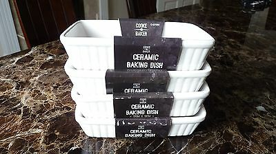 White Ceramic Rectangle Serving Dish Baking Bakeware Oven To Table set of 4