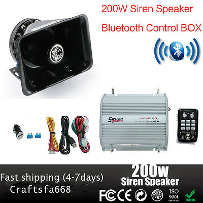 200W Car Alarm Police Fire Loud Speaker PA Siren Horn+ Bluetooth System Kit