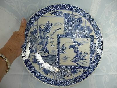 Antique (19Th C.) Chinese Hand Painted Blue & White Porcelain Platter/charger