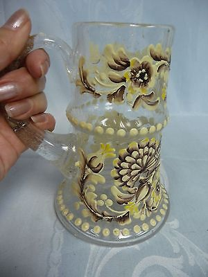 ANTIQUE ENAMELED GLASS TANKARD - HEAVY ENAMEL WORK w/BIRDS & FLOWERS