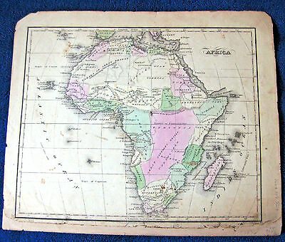 AFRICA MAP ca 1820 antique hand colored US publisher, charming whole continent