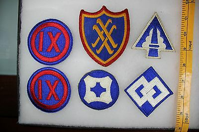 US WW2 Army Cut Edge Corps & Service Command 9 20 22 2 4  6 Patch Lot. OA098