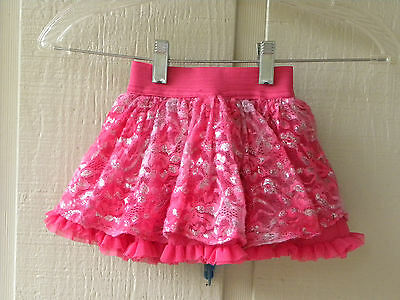 Kids Headquarters girls pink silver lace glittery tutu skirt skort size 2T EUC