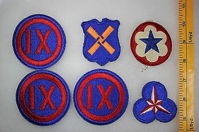 US WW2 Army Cut Edge Corps & Service Command 9 12 36  6 Patch Lot. OA102