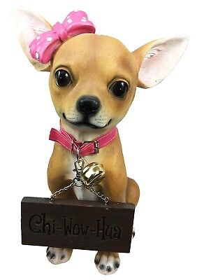 Pink Ribbon Chihuahua Dog Large Figurine W/ Funny Welcome Sign Statue Figurine