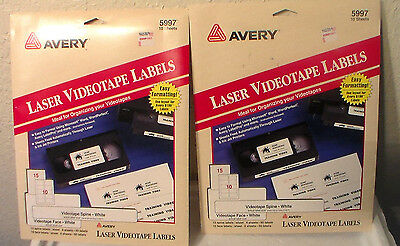 New Avery 5997 Laser White Video Tape Labels Same Size 5199 Organize 20 Sheets