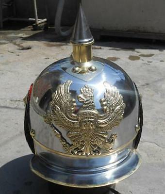 Wwi German Pickelhaube Steel & Brass Helmet Fr Prussian Officer's-Spike Helmet