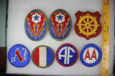 US WW2 Army Cut Edge Misc AF AA ETO AGF Eastern Port 7 Patch Lot. OA113