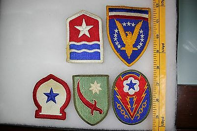 US WW2 Army Cut Edge Misc Middle East & ETO European Theater 5 Patch Lot. OA116