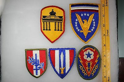 US WW2 Army Cut Edge Misc ETO Civil And Berlin Occupation 5 Patch Lot. OA117