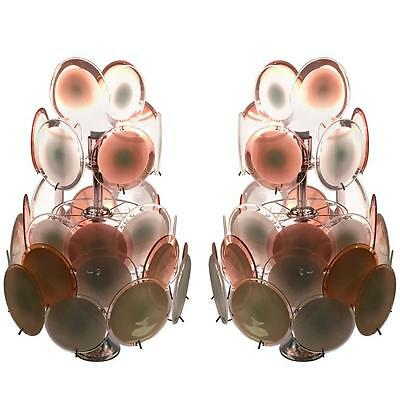 Art Deco Pink and White Murano Glass Chandelier (407)