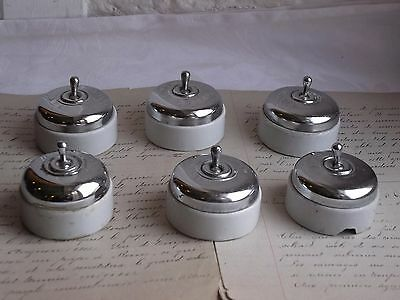 French set of 6 antique toggle switch chrome porcelain ceramic