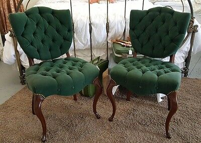 Pair Vintage French Provincial Green Velvet Tufted Accent CHAIRS