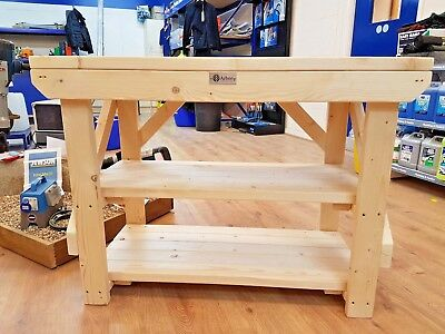Acorn Work Bench Wooden Handmade Industrial Heavy Duty Table - Suitable For Vice