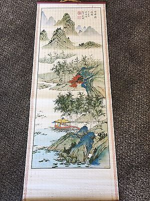 JAPANESE HANGING SCROLL ART Painting Beautiful Misty Mountain And Pagoda