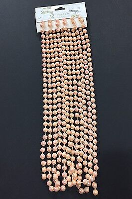 Vintage 1980s Christmas Holiday Garland Beads 12 Ft. Strand Peach Pink NEW NOS