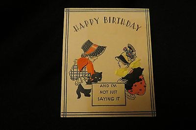 Vintage ART DECO Victorian Lady & KITTEN Birthday Card c. 1920s by: norcross