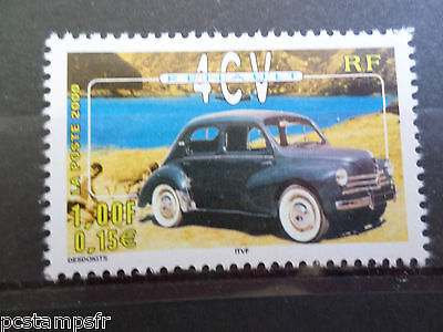 FRANCE 2000, timbre 3319 VOITURES ANCIENNES RENAULT 4 CV, neuf**, MNH CAR STAMP