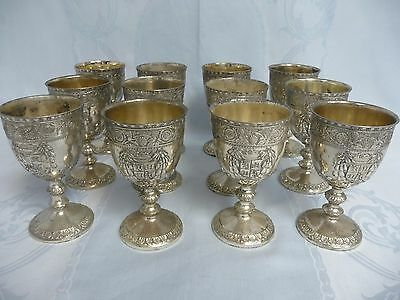 Twelve Vintage Corbell & Co. Silver Plate Wine Glasses W/ornate Crest & Grapes