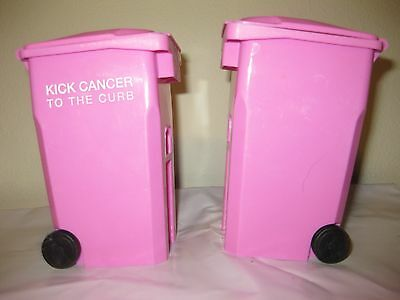 2 Pink mini garbage can pen holder Breast Cancer Awareness