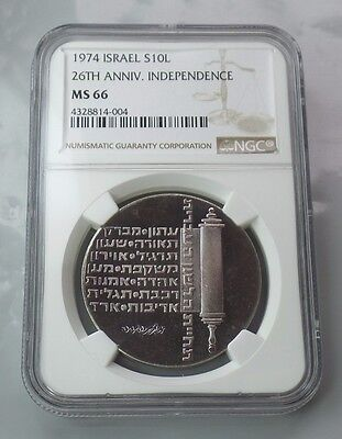 1974 Israel Silver 10L 26th Year Independence Graded NGC MS66 Coin AMAZING COLOR