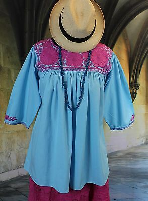 Blue & Pink Hand Embroidered Blouse Mayan Chiapas Mexico Peasant Hippie Santa Fe