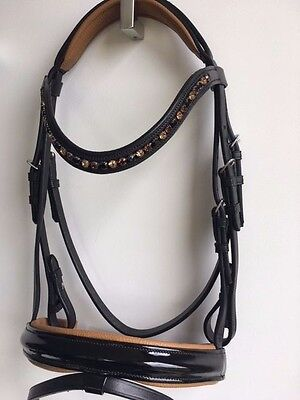 Black Leather Hanoverian Bridle Black Horse Riding Bridle Crystal Browband