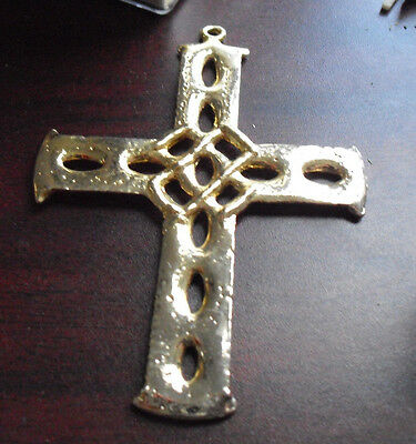 "Vintage Gold Plated Large Religious Cross Pendant 3 1/2"" Tall  LOOK"