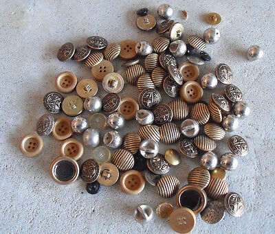 COOL Large Lot of Vintage Buttons Metal Plastic Wood LOOK