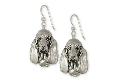 Basset Hound Earrings Jewelry Sterling Silver Handmade Dog Earrings BAS2-E