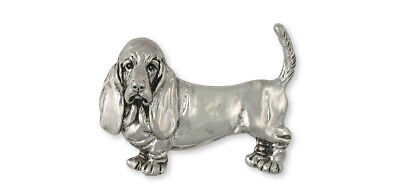 Basset Hound Brooch Pin Jewelry Sterling Silver Handmade Dog Brooch Pin BAS1-PN