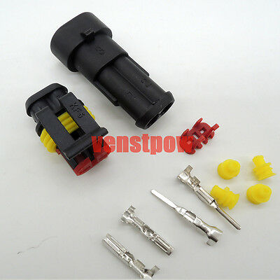 5 sets of 2 Pins Way Waterproof Auto Car Seal Electrical Wire Connector Plug Kit