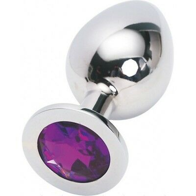 Plug Metal butt type rosebud Stainless Steel Crystal Jewelry Size XXL Color purp