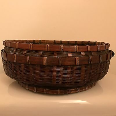 """Vtg Antique Basket Round Chinese Asian Woven Wicker Reed Sewing BOTTOM ONLY 11"""""""