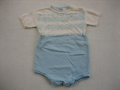 Vintage YOUTHCRAFT 1 Piece Knit Baby Outfit - Baby Blue and White - Large