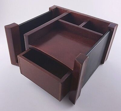 Rolodex 81767 Desk Director Organizer Mahogany wood & leather drawer office NEW