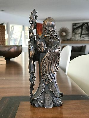 """Antique Chinese Old Wise Man with Cane Staff Wood Carved Sculpture Statue 8.75"""""""
