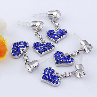 5pcs 3.5mm Crystal Heart Anti Dust Earphone Plug Stopper Cap For iPhone Samsung